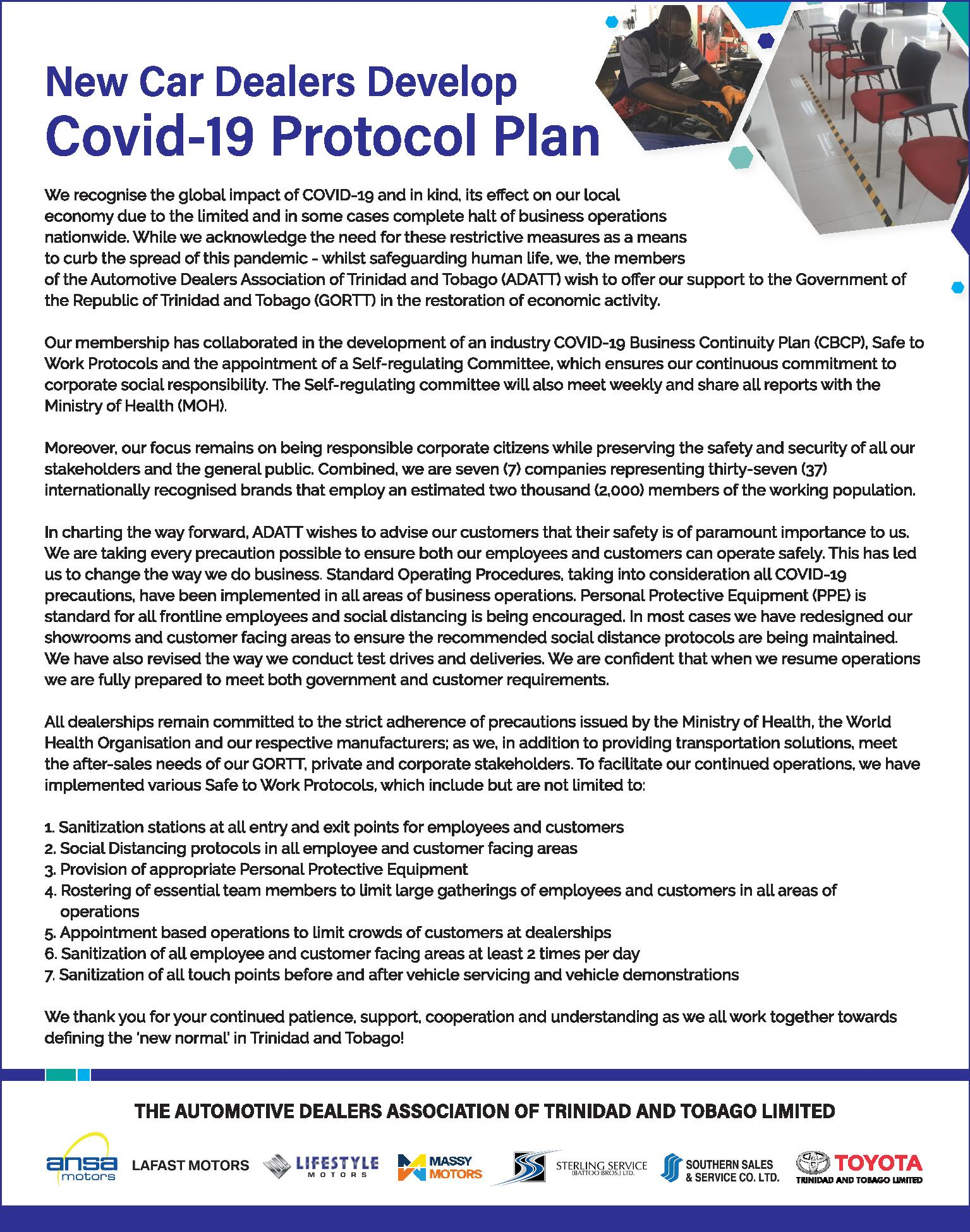 New Car Dealers Develop COVID-19 Protocol Plan