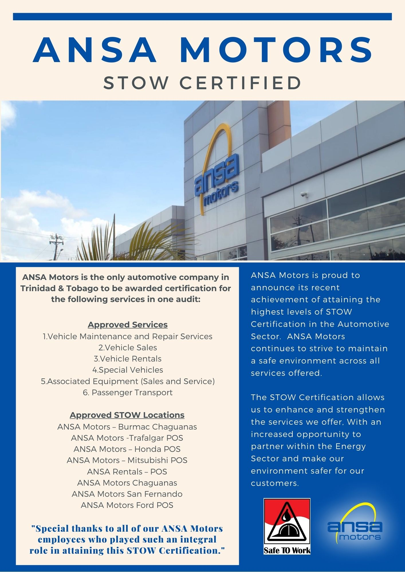 ANSA Motors STOW Certified